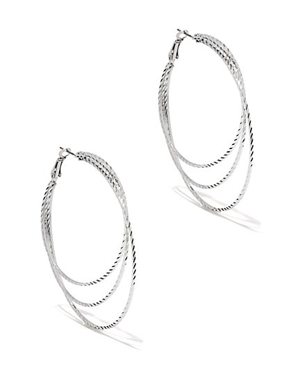 Layered Textured Hoop Earring  - New York & Company
