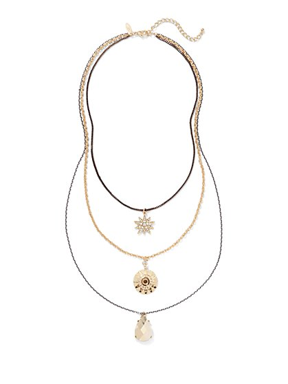 Layered Triple Pendant Necklace  - New York & Company