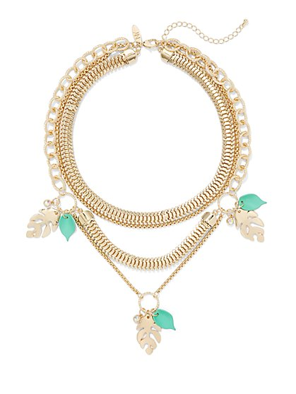 Leaf-Accent Layered Necklace - New York & Company