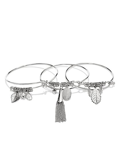 Leaf Charm Bangle Set  - New York & Company