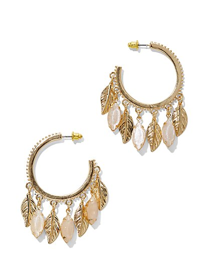 Leaf & Faux-Stone Dangle Hoop Earring  - New York & Company