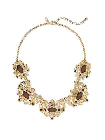 Leaf Scroll Bib Necklace  - New York & Company