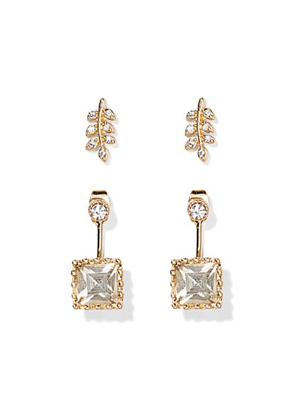 Leaf & Square Drop Earring Set  - New York & Company