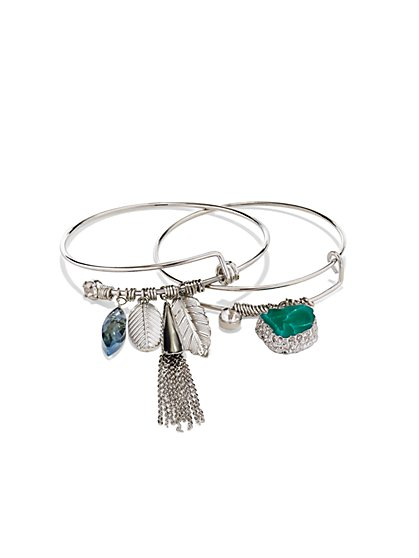 Leaf & Tassel Bangle Set  - New York & Company