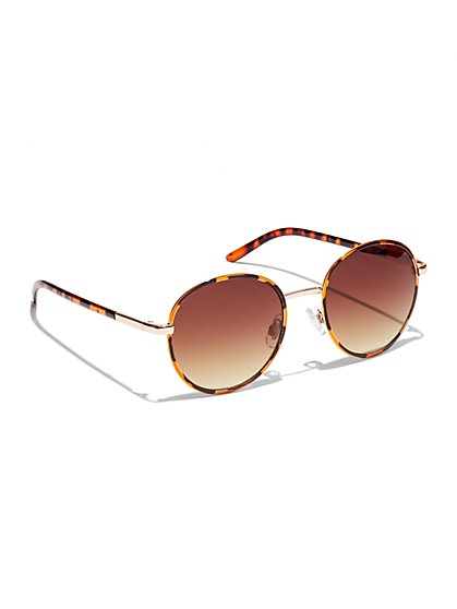 Leopard Aviator Sunglasses  - New York & Company