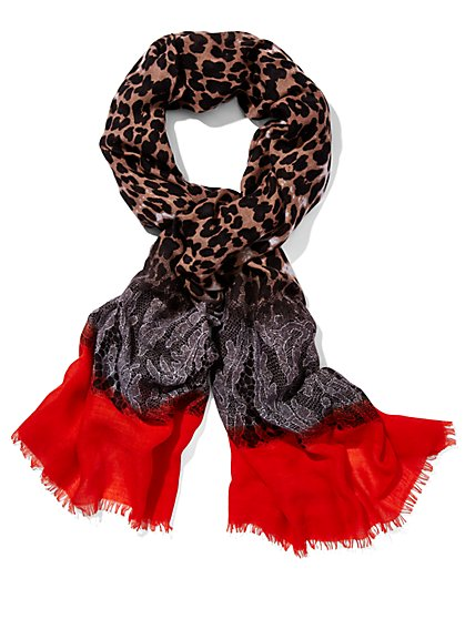 Leopard & Lace Print Scarf  - New York & Company