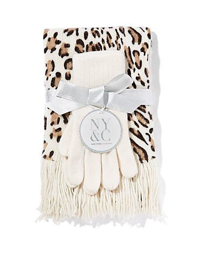 Leopard-Print Scarf & Glove Gift Set  - New York & Company