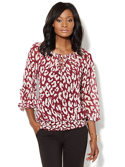 Leopard-Print Smocked Peasant Blouse - New York & Company