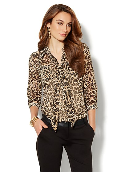 Lexington Soft Shirt - Leopard Print - New York & Company