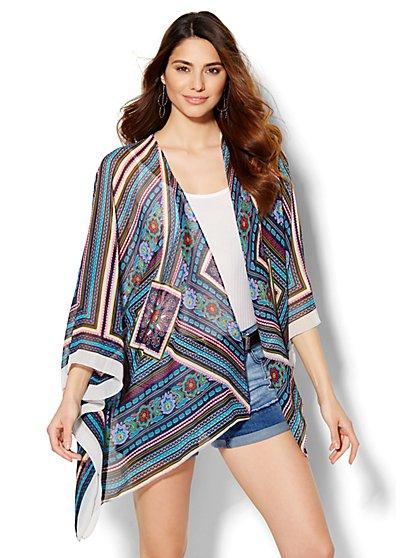 Lightweight Kimono - Tile Print  - New York & Company