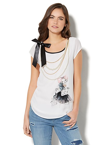 Limited Edition - Ribbon Accent & Faux Pearl-Trim T-Shirt - New York & Company