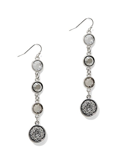 Linear Faux-Druzy Drop Earring  - New York & Company