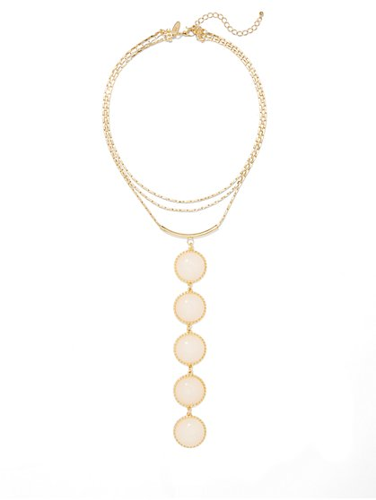Linear Five-Stone Pendant Necklace  - New York & Company