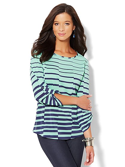 Linear-Print Hi-Lo Tunic Top - New York & Company