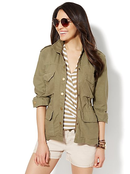 Linen-Blend Utility Jacket - Union Square Green  - New York & Company