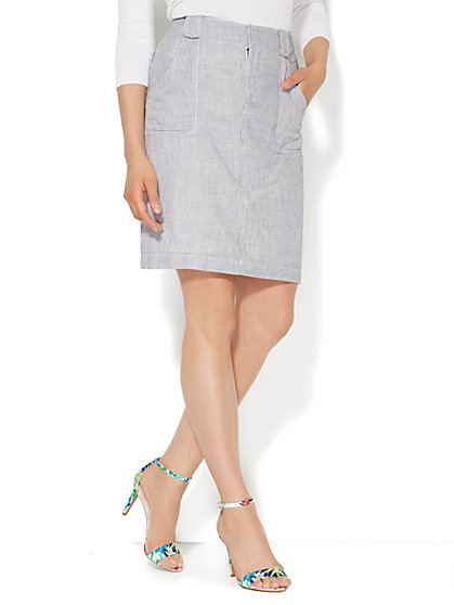 Linen Cargo Skirt - Railroad Stripe  - New York & Company