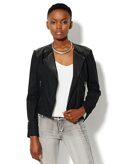 Linen Moto Jacket - Black - New York & Company