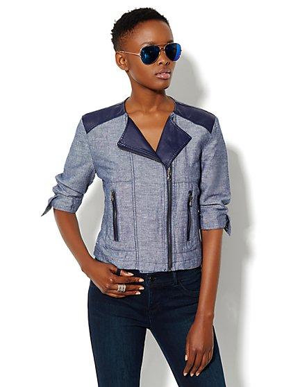 Linen Moto Jacket - Grand Sapphire - New York & Company