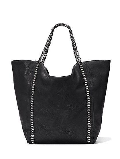 Link-Trim Faux-Leather Tote