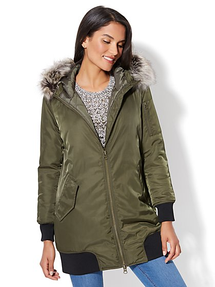 Long Faux-Fur Hooded Bomber Jacket - New York & Company