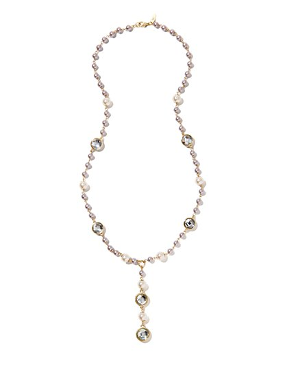 Long Faux-Pearl Y Necklace  - New York & Company