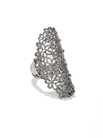 Long Filigree Stretch Ring - New York & Company