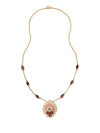 Long Flower Pendant Necklace  - New York & Company