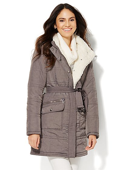 Long Hooded Puffer Coat - Grandview Grey  - New York & Company