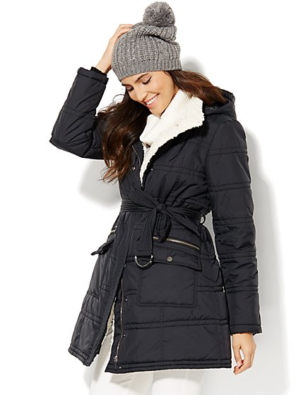 Long Hooded Puffer Coat  - New York & Company