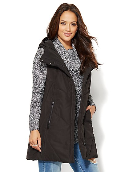 Long Hooded Puffer Vest - Black  - New York & Company