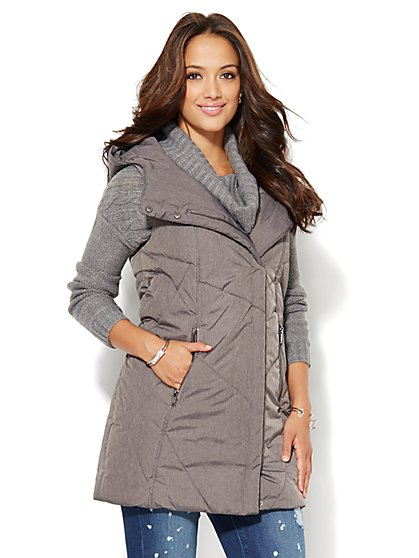 Long Hooded Puffer Vest - Grey  - New York & Company