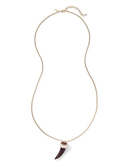 Long Horn Pendant Necklace