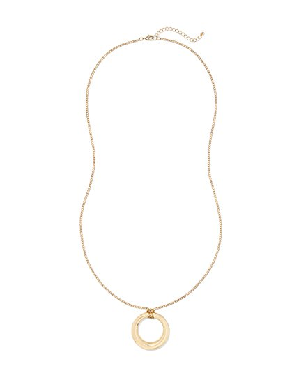 Long Open-Circle Pendant Necklace  - New York & Company