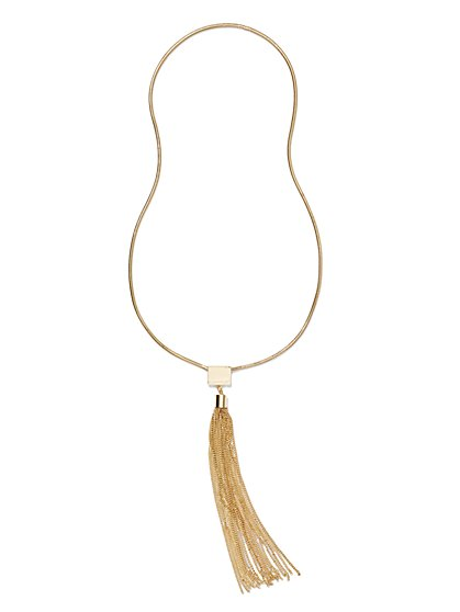 Long Tassel Pendant Necklace  - New York & Company