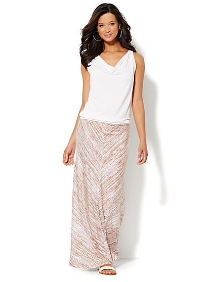 Lounge - Abstract Stripe Maxi Skirt  - New York & Company