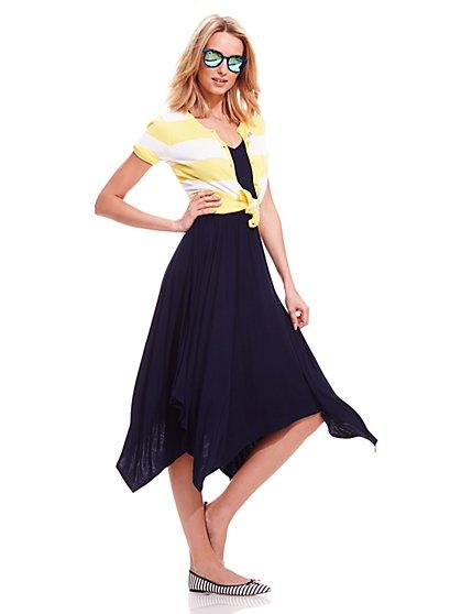 Lounge - Asymmetrical-Hem V-Neck Dress  - New York & Company