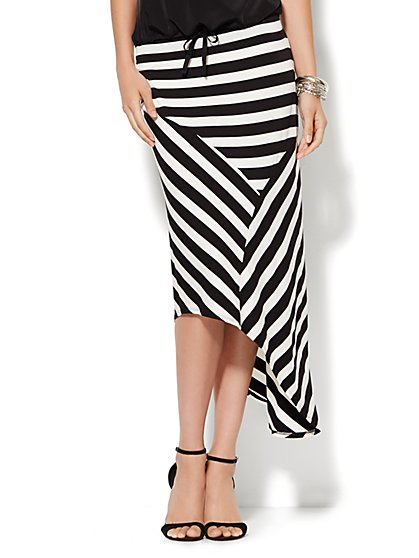 Lounge - Asymmetrical Striped Maxi Skirt  - New York & Company