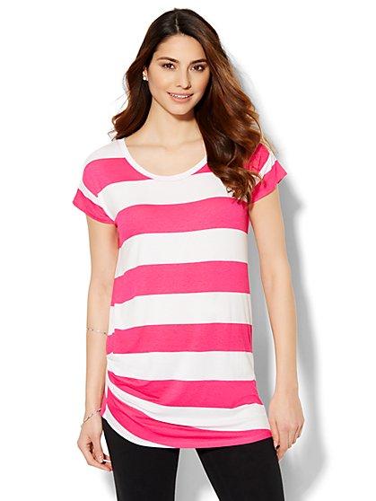 Lounge - Asymmetrical T-Shirt - Stripe  - New York & Company