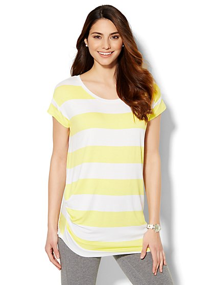 Lounge - Asymmetrical T-Shirt - Stripe  - New York & Company