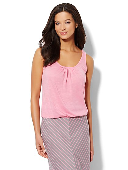 Lounge - Banded-Hem Solid Tank Top  - New York & Company