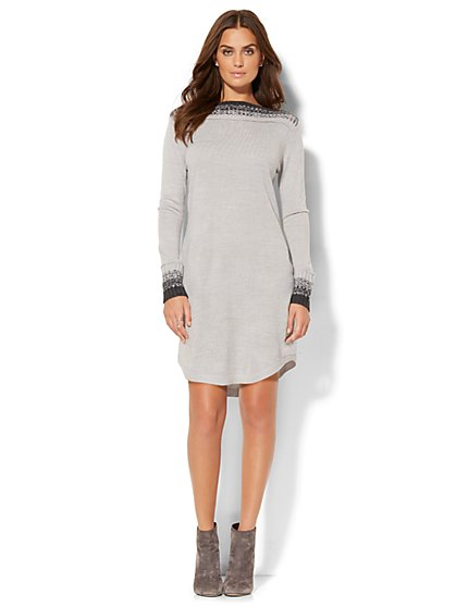 Lounge - Bateau-Neck Sweater Dress - New York & Company