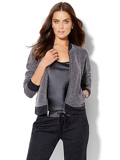 Lounge - Bouclé Bomber Jacket  - New York & Company