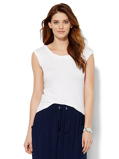Lounge - Braided-Trim T-Shirt  - New York & Company