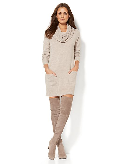 Lounge - Cable-Knit Cowl-Neck Sweater Dress - New York & Company