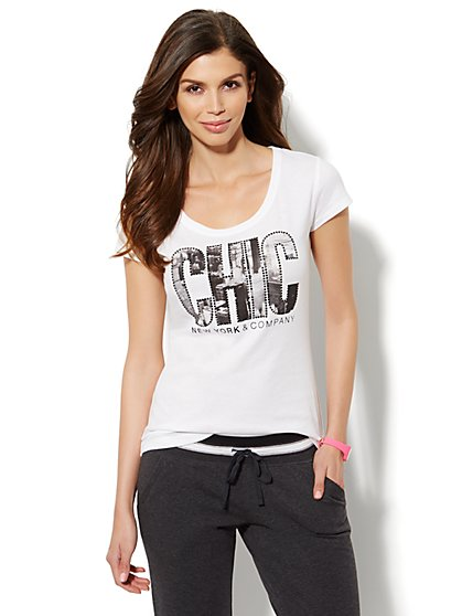Lounge - Chic Logo Cotton Tee  - New York & Company