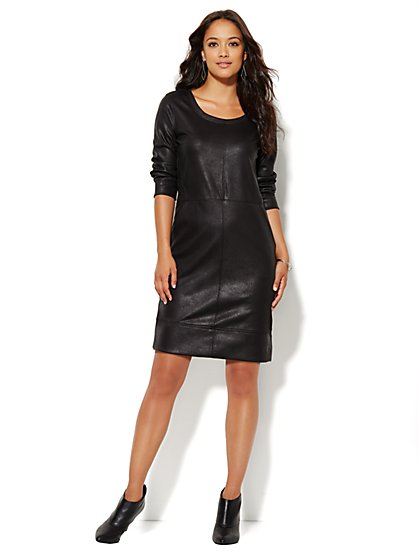 Lounge - Coated Scuba Dress - Black - New York & Company