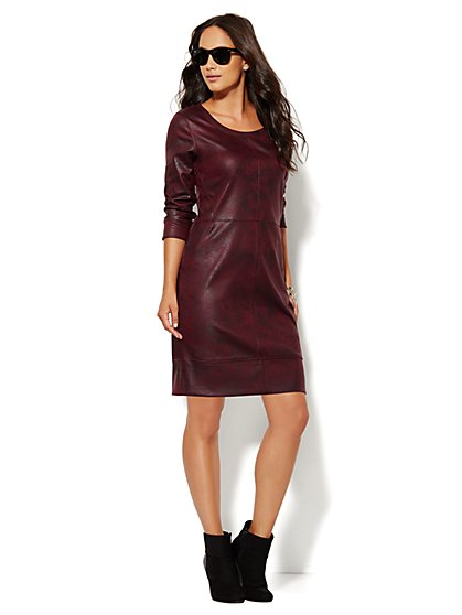 Lounge - Coated Scuba Dress - Burgundy Spice - New York & Company
