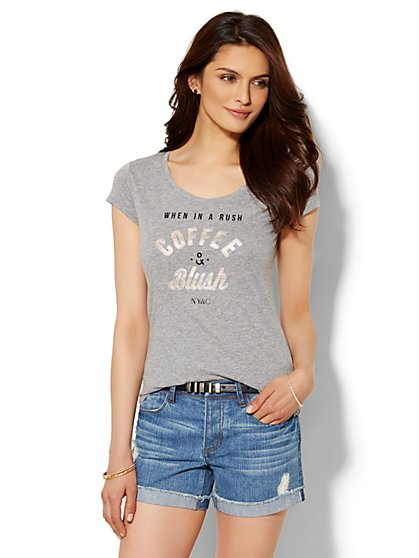 Lounge - Coffee and Blush Logo Tee  - New York & Company