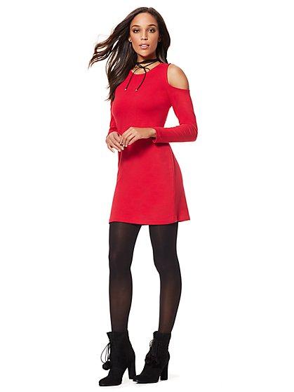 Lounge - Cold-Shoulder Flare Dress - New York & Company