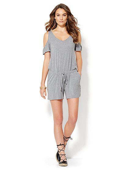Lounge - Cold-Shoulder Romper  - New York & Company